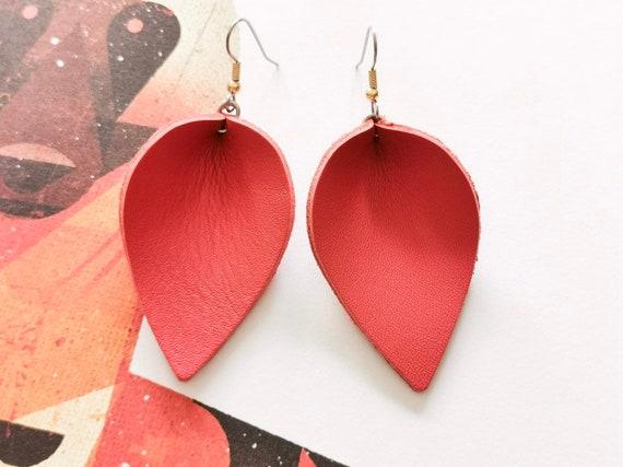 Burn Orange Earring, Summer Spring Jewellery, Leather Leaf Earring, Joanna Gaines Inspired Earrings, Genuine Leather Earring, Surgical Steel