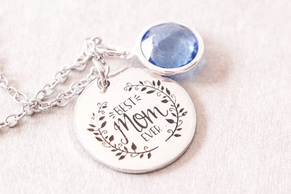 Best Mom Ever Gift - Mother Day Gift Idea - Birthstone Mom Jewellery - Birthstone Necklaces - Best Mom Jewelry - Birthstone Gift for Mom