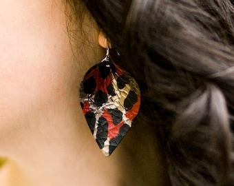Leopard Leather Earrings, Leaf earrings, Leather leaf earrings, Boho earrings, Western earrings, Leather drop earrings, Rustic earrings
