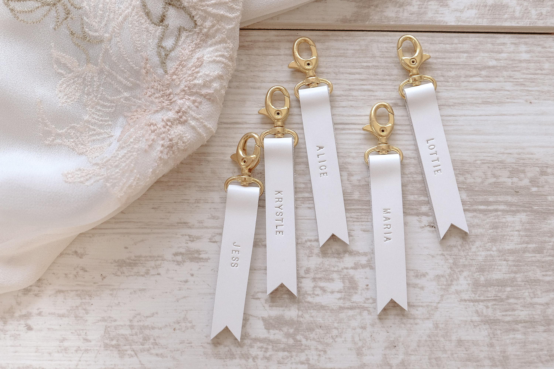 White Bridesmaid Gift, Bridesmaid Gift Set of 5 , White Leather ...