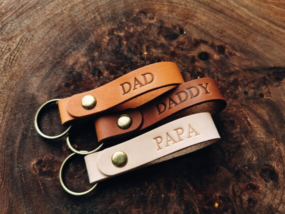 Fathers Day Gift Idea, Personalized Leather Keychain, Personalized Keyring, Gift For Dad, Gift for Grandpa, Dad Gift, Gift for Husband