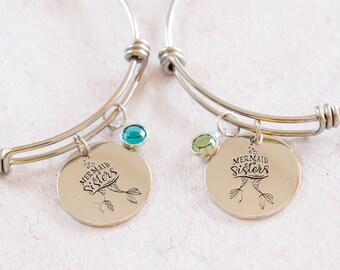 Mermaid Bracelet, Mermaid Sisters, Sister Bangle, Custom Bracelet, Swarovski Charm, Birth Stone gift, Gift for Sister, Mermaid Gift