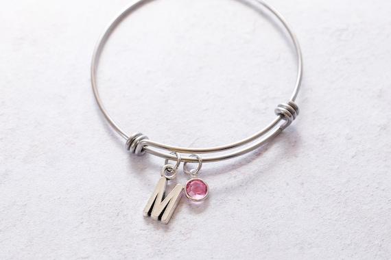 Custom Birthstone Charm Bracelet, Swarovski Birthstone, Beach Bracelet, Summer Jewelry, Custom Birthstone Bangle