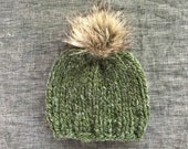 Forest Green Faux Fur Pom Pom Beanie - Hand Knit Chunky Wool Pom Hat - Baby, Toddler, Kids, and Adult Sizes