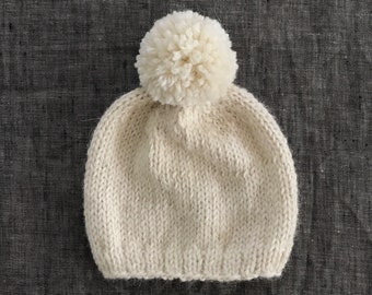 Knit Baby Alpaca Pompom Beanie - Baby Through Adult Sizes Available