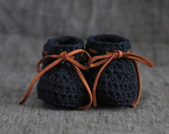 Black Crochet Baby Shoes - Gender Neutral Baby Booties with Ties - Infant Crib Shoes - Cotton Crib Shoes with Deerskin Ties - 0 to 3 Months