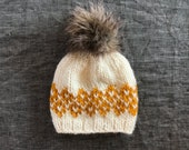 Mustard & White Pompom Beanie with Faux Fur Pompom - All Sizes Available