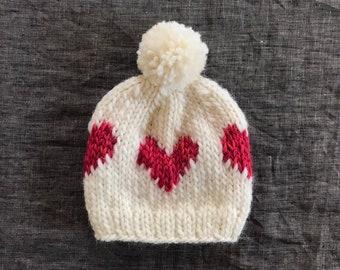 53f4e3cc212 White   Pink Heart Beanie - Valentine s Day Hat