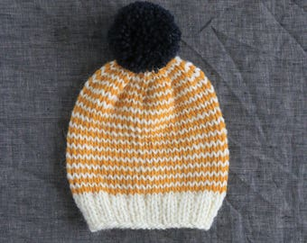11e981f7616 Striped Mustard   White Pompom Beanie - Warm Winter Hat - Baby to Adult  Sizes Available