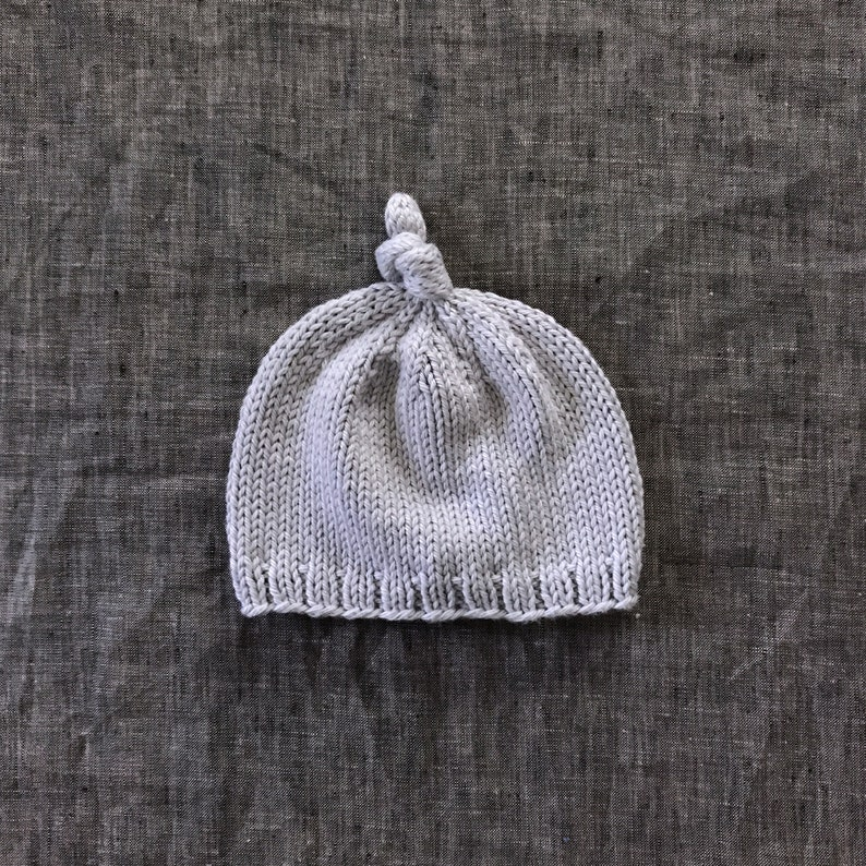 bbd2ea0e1f9 Light Gray Knotted Baby Beanie in Organic Cotton 0 to 3 or 3