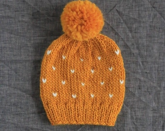 Mustard Knit Polka Dot Toddler Beanie - Fair Isle Pompom Hat - Toddler, Kid, Adult Sizes Available