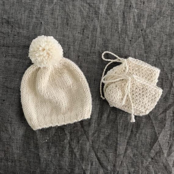 a8ede5e1df6 Hand Knit Newborn Gift Set Pompom Hat   Bootie Baby Shower