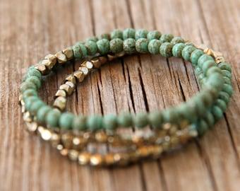 turquoise Bracelet SET,  turquoise Beaded Bracelet, Beaded Stacking Bracelet ,turquoise Elastic Bracele, Bracelets Stacks, set of 3 bracelet