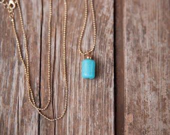 Gold & turquoise pendant necklace, Thin and long necklace, Tiny pendant necklace, Simple gold necklace, Long necklace, Gold dainty necklace