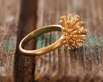 Gold flower ring, Gold ring, Simple gold ring, Flower ring, Hand ring, Hand gold ring, Simple flower ring, Delicate ring, Gold delicate ring