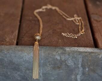 Gold tassel necklace, Long gold pendant necklace, Simple long gold necklace, Gold thin necklace, Simple gold necklace, Tassel necklace