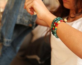 Gemstone Stretch Bracelet, Turquoise Bracelet,  Beaded Bracelet, Beaded Stacking Bracelet, Bead Bracelet, Silver-colored, Stretch, Elastic