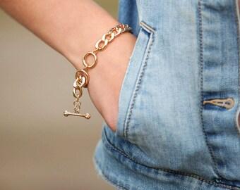 BIG GOLD Bracelet, Adjustable gold Chain Bracelet, gold Bracelet, Adjustable Bracelet, Chain Bracelet, Simple gold Bracelet