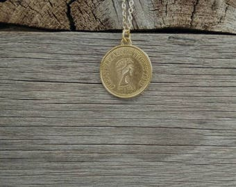 Gold coin necklace, simple necklace, GOLD long necklace, dainty necklace, everyday necklace, for Mother's Day long gold necklace