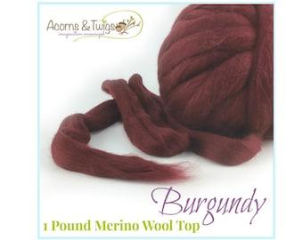 very soft Superwash lambswool roving burgundy color