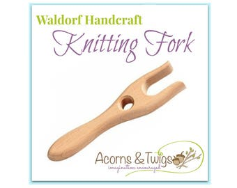 Knitting Fork, Children's Knitting Tool, Waldorf Handwork Supply, Wooden Lucet, Lucet Cord Making Tool,