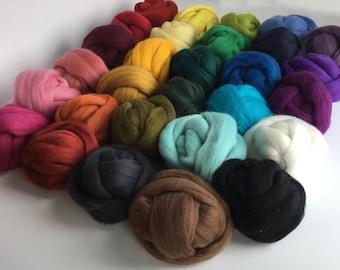 Large Half Set A - 29 colors of South American Merino Wool Top/Roving (2 oz each) app. 1.6 kg total