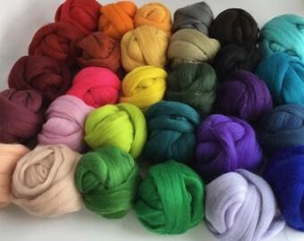 Large Half Set B - 29 colors of South American Merino Wool Top/Roving (2 oz each) app. 1.6 kg total