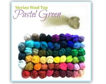 Pastel Green Wool Roving for Felting, 1 oz Green Wool, Merino Wool Top, Green Roving for spinning Earthy Green wool for Wet Felting SA57