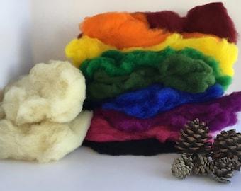 Wool Batt Large Intense Color Set - 9 colors of New Zealand Merino Felting Wool (2 oz ea) & Organic Stuffing Wool (6 oz) - 24 oz total