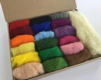 Wool Batt Complete Set - 18 colors of New Zealand Merino Felting Wool (5g ea) & Organic Stuffing Wool (15g) - 3.7 oz total