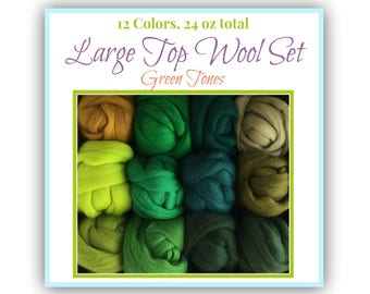 Large Green Spinning Set - 12 colors of South American Merino Wool Top for wet felting, Needle Felting Roving (2 oz each) Wholesale Set