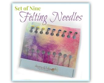 Felting Needles Set of 9, fine, middle, coarse felting needles, for dry felting, wool felting tools, barbed needles, Refill Felting Needles
