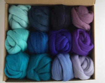 Large Blue Tones Set - 12 colors of South American Merino Wool Top/Roving (2 oz each) 680 g total