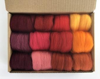 Red & Orange Tones Set - 12 colors of South American Merino Wool Top/Roving (5g each) 2 oz total