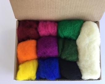 Wool Batt Intense Color Set - 9 colors of New Zealand Merino Felting Wool (5g ea) & Organic Stuffing Wool (15g) - 3.7 oz total