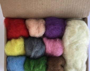 Wool Batt Mild Color Set - 9 colors of New Zealand Merino Felting Wool (5g ea) & Organic Stuffing Wool (15g) - 3.7 oz total