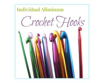 Aluminum Crochet Needles, Metal Crochet Hooks, Purchase Individual Crochet Hooks or A Crochet Needle Set,