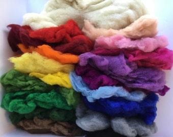 Wool Batt Large Complete Set - 18 colors of New Zealand Merino Felting Wool (2 oz each) & Organic Stuffing Wool (6 oz) - 42 oz total