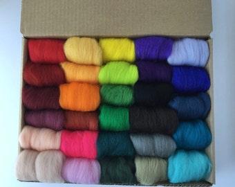 Half Set B - 29 colors of South American Merino Wool Top/Roving (5 g each) app. 5.22 oz total