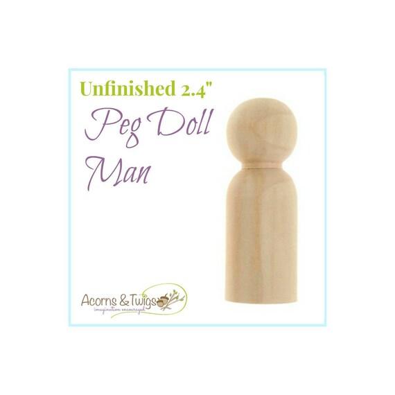 Homme en bois poupée Peg, inachevé, jouets Waldorf, l'artisanat en bois d'alimentation, fournitures de Montessori, bricolage papa Peg Doll