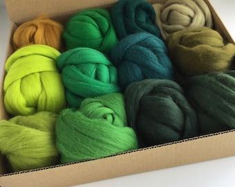 Large Green Tones Set - 12 colors of South American Merino Wool Top/Roving (2 oz each) 680 g total
