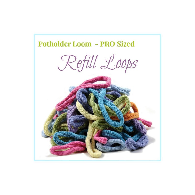 PRO Potholder Loops Refill for Harrisville Designs' PRO Potholder Loom,  Individual Colors, Set of 27 cotton Loops your choice from 34 colors
