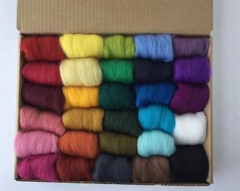 Half Set A - 29 colors of South American Merino Wool Top/Roving (5 g each) app. 5.22 oz total