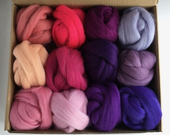 Large Pink and Purple Tones Set - 12 colors of South American Merino Wool Top/Roving (2 oz each) 680 g total