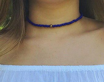 Blue Beaded X Gold