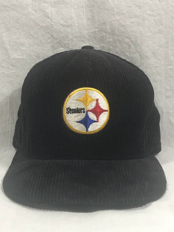 Vintage 80s PITTSBURGH STEELERS Snapback Hat Corduroy Trucker  87f13fd408d