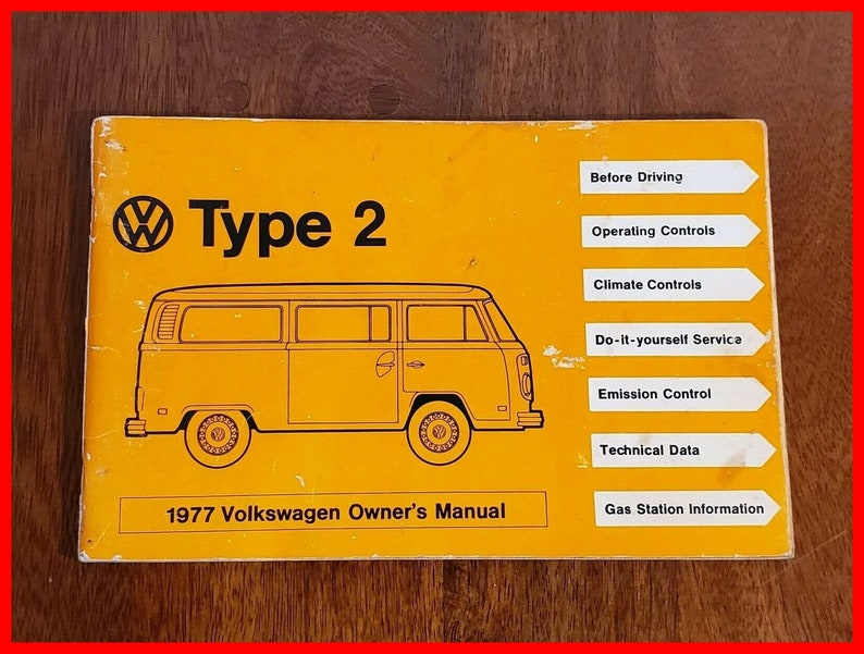 VW Type 2 1977 Volkswagen Owners Manual Microbus Camper Transporter Kombi  Bus Hippie Van