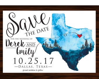 Printable Texas Save The Date - Watercolor