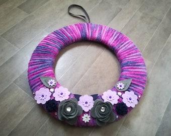 wreath, purple, fabric wreath, uk, cadbury purple, gift for nan, purple wreath, one of a kind, quirky decor, alternative, purple decor