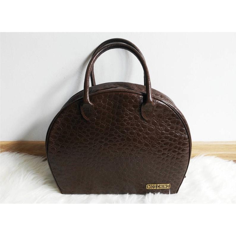 8bc44dc52896f Moschino Bag przez Redwall Vintage brązowe skórzane | Etsy